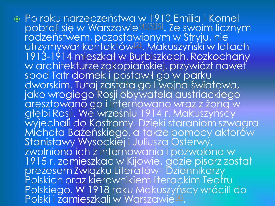 Po roku narzeczeństwa w 1910 Emilia i Kornel pobrali się w Warszawie[4][3][5].